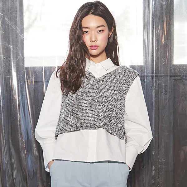 (Q-BL-2504)建立粗呢女衬衫