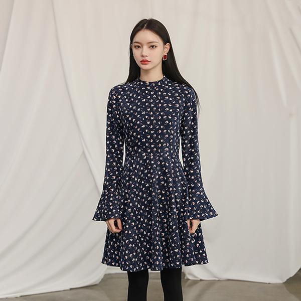 (OP-3991)灯芯绒波浪组/喇叭裙连衣裙