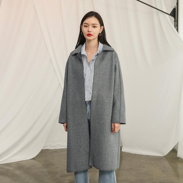(CT-1117)黑白混纺色领腰带大衣S.