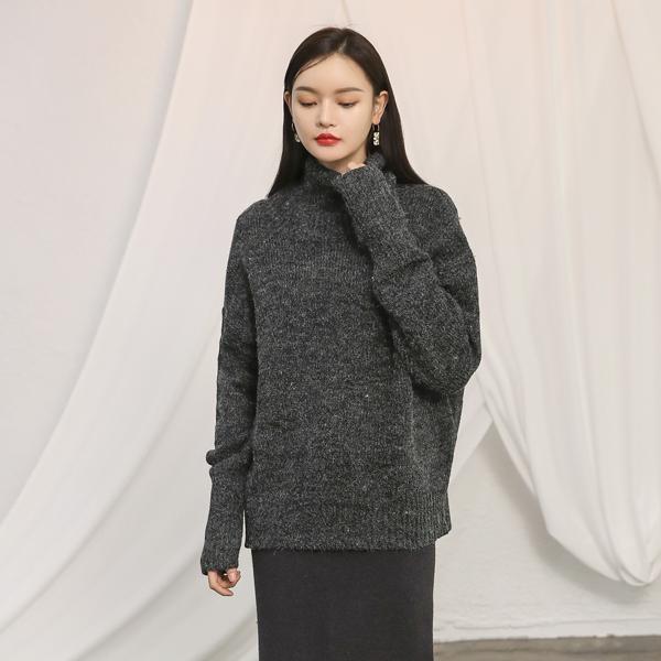 (T-4458)黑白混纺色高领针织衫