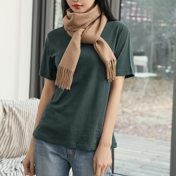 (T-4581)圆领颈部彩色短袖T恤