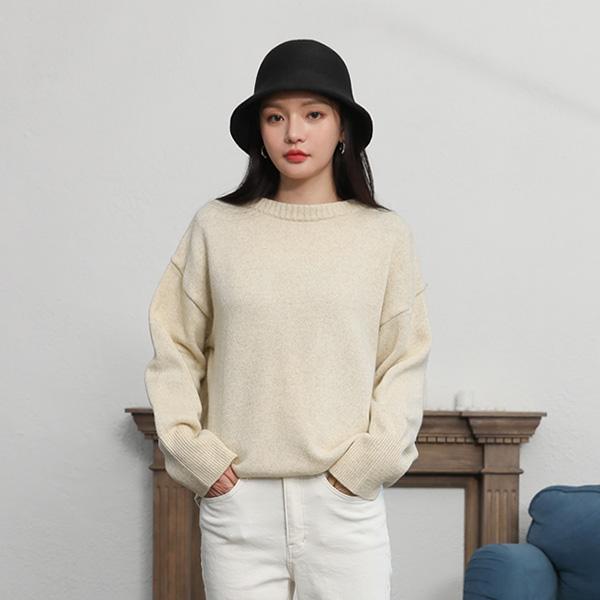 (T-4617)羊毛超大圆领针织衫