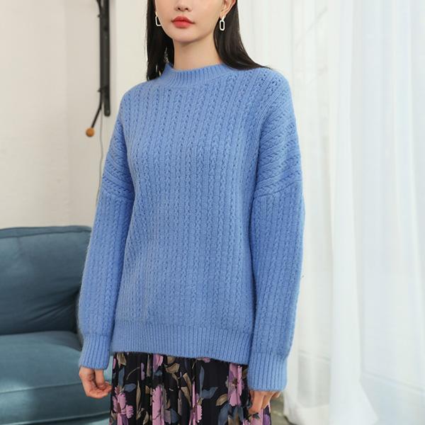 (T-4618)羊毛拼接针织圆领针织衫