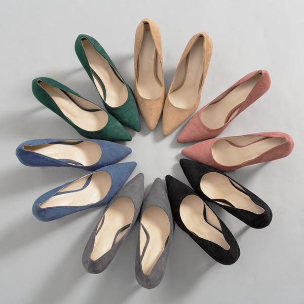 (SH-2549)半透明毛皮细高浅口式鞋ヒル