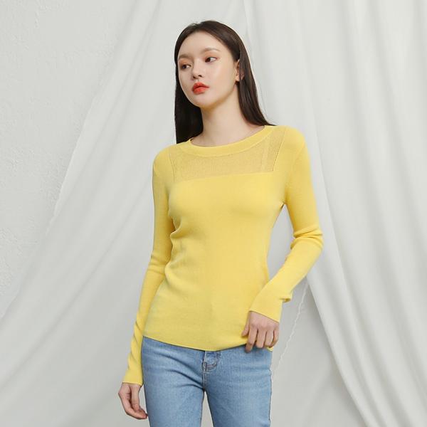 (T-4339)前透明方形肩织衫