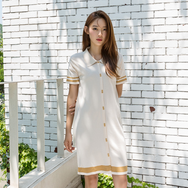 (OP-4663)面部彩色线条关键点针织衫衣衣裙