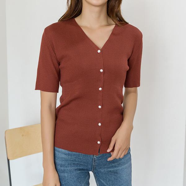 (N-CD-1365)珍珠扣贴身针织衫开衫