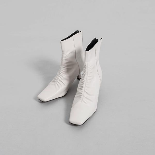 (SH-2824)褶皱线条脚踝靴子鞋跟