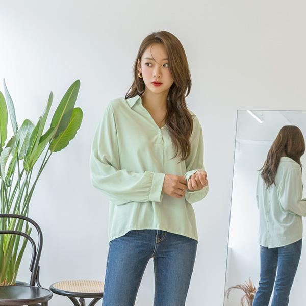 (BL-3387)纽扣细纹领女衬衫