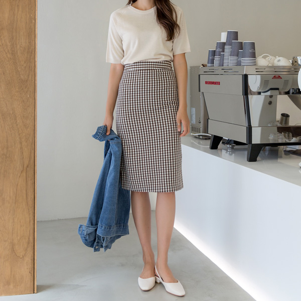 (SK-3592)Gingham Check H Silhouette