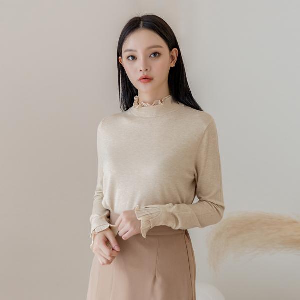 (NT-5027)羊绒荷叶边穆克针织衫