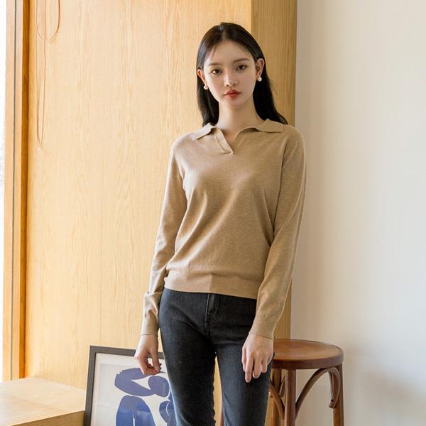(NT-5029)羊绒领V字领针织衫