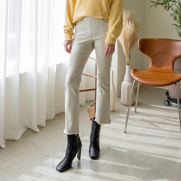 (PT-3972)池松紧带切削靴型裤牛仔色短裤